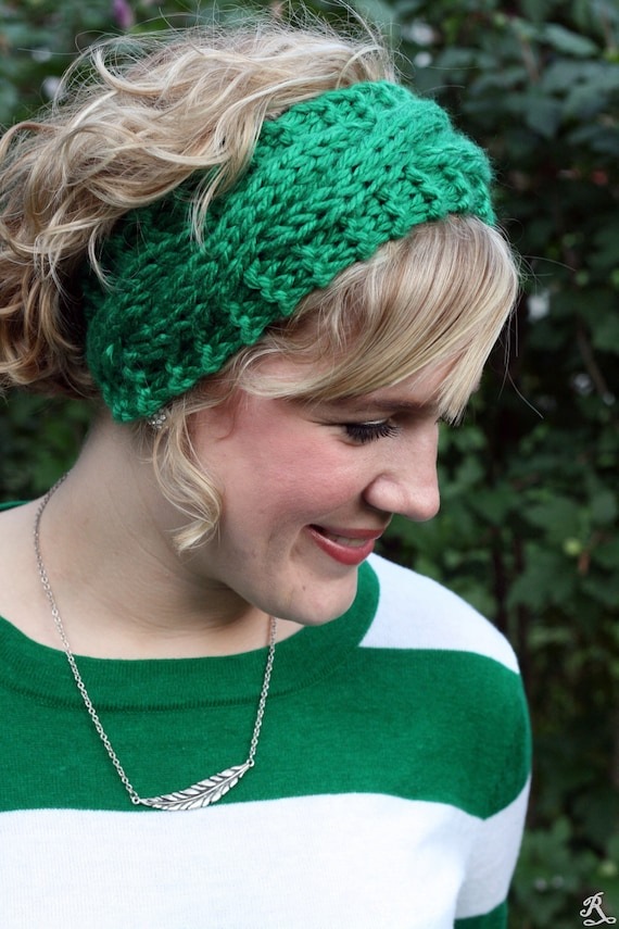 Kelly Green Headband for Women - Cable Ear Warmer