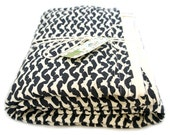 Black and White River Shine True Crib Blanket with Cream Minky Dot Chenille - LuLusWoobies