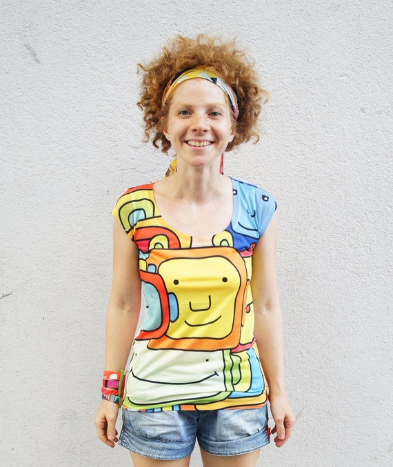 Printed bright rainbow creatures tshirt limited edition