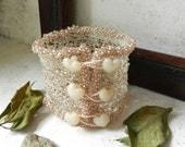 Wire Crochet Bracelet Cuff Blush Peach Renaissance Sweetheart - AlbinaRose