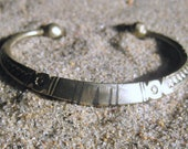 Old Etched Silver  West African Bracelet with Ebony Strips