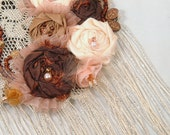 Shabby Chic Statement Necklace Sparkling Fringe Fabric Roses Beaded - SeamsVictorian