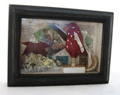 Folk Art Shadow Box Assemblage/Collage Vintage Paper Red Bird - digiliodesigns