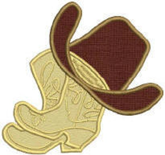 Cowboy Boot and Hat Embroidery Design