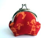 Red and Orange Space Robot Alien Print Coin Purse, Change Purse, iPhone Earbud Case - cheekyleopard
