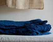 indigo hand dyed vintage tablecloth - enhabiten
