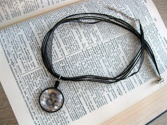 Jane Austen Personalized necklace Pendant  jewelry Pride and Prejudice book ooak handmade