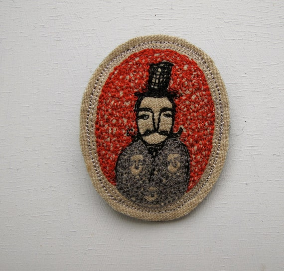 gentleman dreamer brooch - miniature embroidery artwork