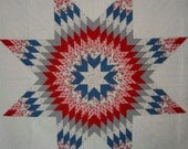 LONE STAR Quilt Red White Blue Patriotic Lap Quilt Texas Pride - carolinasquirrell