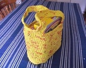Plarn Tote Bag Yellow Red Plastic