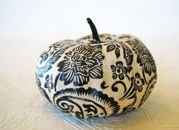 Pumpkin Ornament, Squash Ornament, Halloween Ornament, decoupage ornament, black and white pumpkin, paisley fall autumn thanksgiving