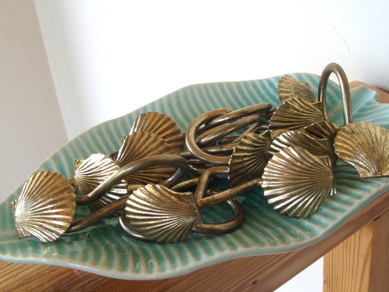 12 Brass Seashell Shower Curtain Hooks by lookonmytreasures