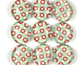 Fridge Marble Magnets or Push Pins Set- Red and Teal Geometric Diamonds in Circles - sideproject