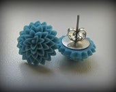 Resin Flower Stud Earrings with surgical steel posts - Blue