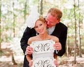 El Sr. y la Sra. signos de la boda decoraciones de la boda 12x6 SOLA CARA conjunto
