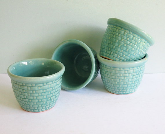 Vintage Aqua Green Pottery Custard Cups with an Embossed Basket Weave Pattern