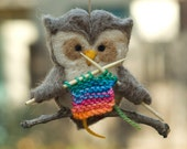 Needle Felted Owl Ornament - Knitting Rainbow - scratchcraft