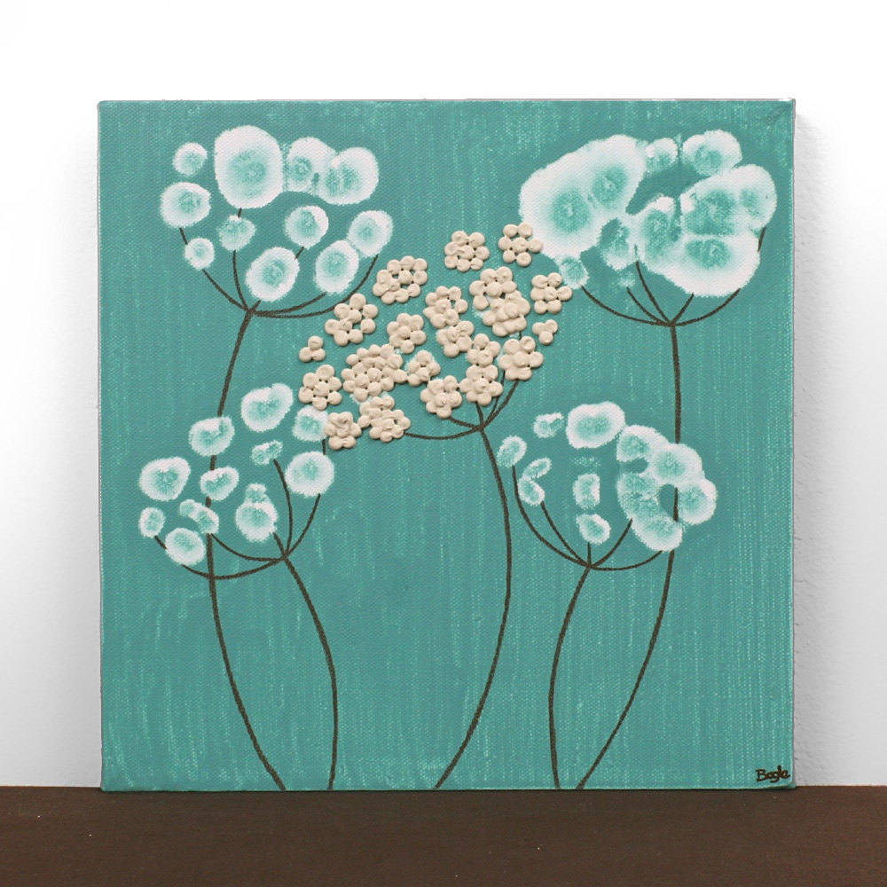 Teal Wall Art on Square Canvas Small Flower Painting by Amborela