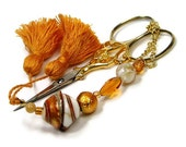 Scissor Fob Quilting Beaded Golden Seashell Needlepoint Sewing Cross Stitch Hardanger - TJBdesigns