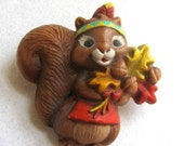 Vintage Hallmark Brooch, Costume Jewelry, Plastic, Squirrel, Fall Themed, 1987 - DodadChick