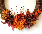 Harvest Wreath - Beautiful Yarn Wreath with Silk Flowers and Naturals - RagamuffinDesign