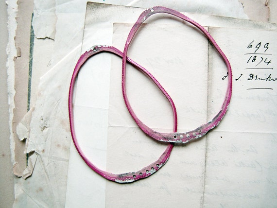 Big Pink Hoops -  large handmade rustic earring findings - hammered reclaimed metal - sparrow salvage studio - 1 pair