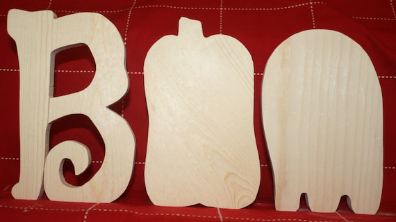 UNFINISHED BOO wood letters with pumpkin and ghost