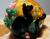 Black Cat Gardens custom lampwork bead for pendant SRA  Halloween - LandSArts