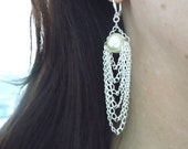 Coco Earrings -- Swarovski Pearl and Silver Drape Chain Earrings