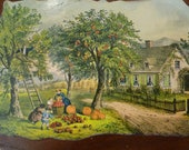 Currier and Ives Apple Tree Wood Plaque Vintage 1973 Handmade Decoupaged Plaque Wall Hanging Wooden Unique Home Decor Picture - myvintagedreams