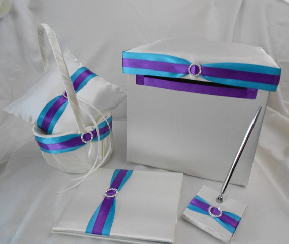 Ivory Turquoise Purple Flower Girl Basket Ring Pillow