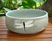 Large Shallow Handmade Antique Blue Porcelain 4-DRAGONFLY Bowl - potterygal66