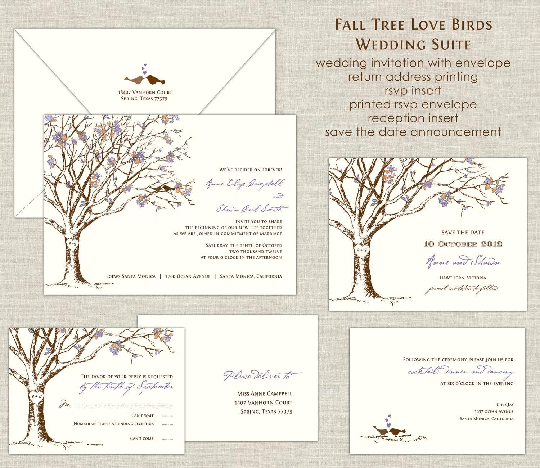 Wedding Invitation Tree: Fall Tree Love Birds Wedding Invitations By Paperimpressions