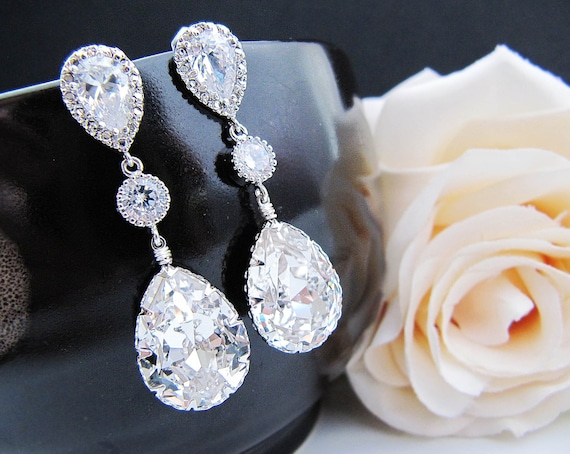 Wedding Jewelry Bridal Earrings Bridesmaid Earrings Dangle Earrings Clear White Swarovski Crystal and Cubic Zirconia Tear drop Earrings