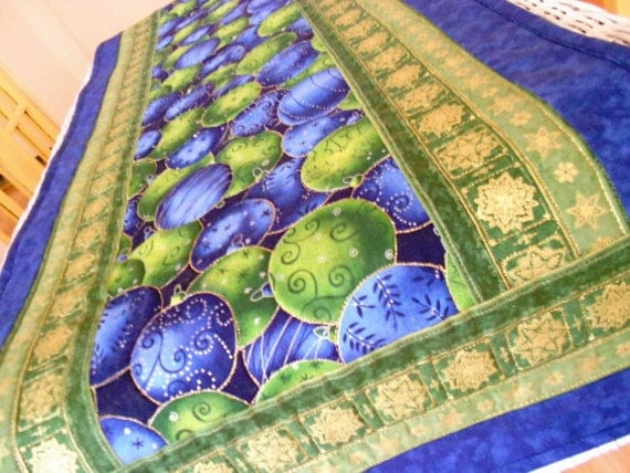 Christmas Table Runner Quilt - Blue Green Christmas Ball Ornaments with Gold Accents