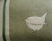 Hand printed and stitched little olive loomstate linen jenny  wren cushion - helkatdesign