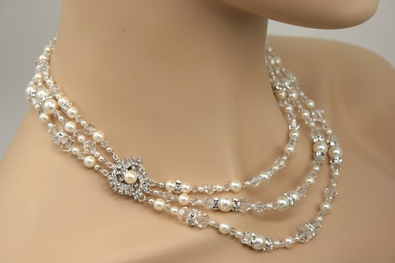 Bridal Statement Necklace, Multi Strand Wedding Necklace, Pearl and Crystal Jewelry, Bridal Necklace, Wedding Jewelry