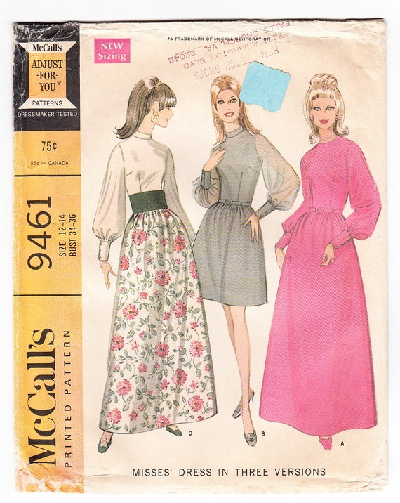 Vintage 1968 McCall's 9461 Sewing Pattern Misses' Dress in Three Versions Size 12-14 Bust 34-36