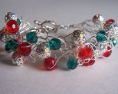 Wire crochet Christmas cuff, Christmas jewelry - starrydreams