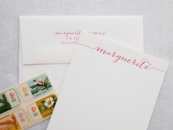 Custom Letterpress Stationery - Swash Calligraphy - Personalized Set of 25 Flat Notes
