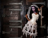Size medium ivory lace caged victorian zombie ghost burlesque corset costume dress with tea stained ruffled panties Ready to ship