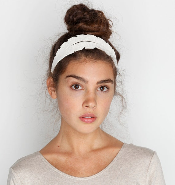 Feather Leather Headband in White
