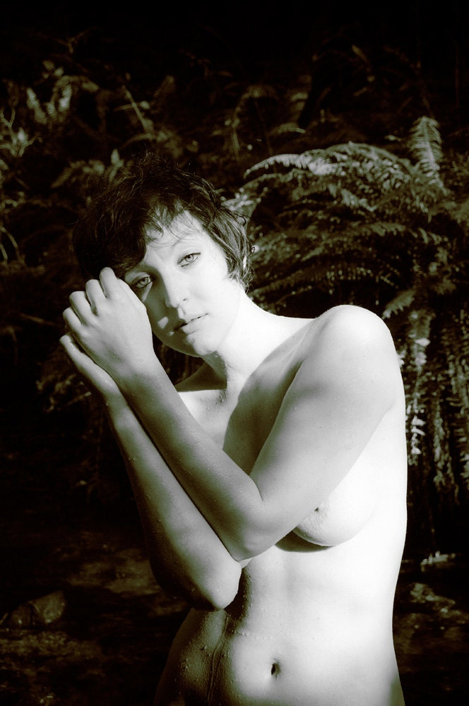 Female outdoor artistic nude - color and bw - The Lady of the Creek 09