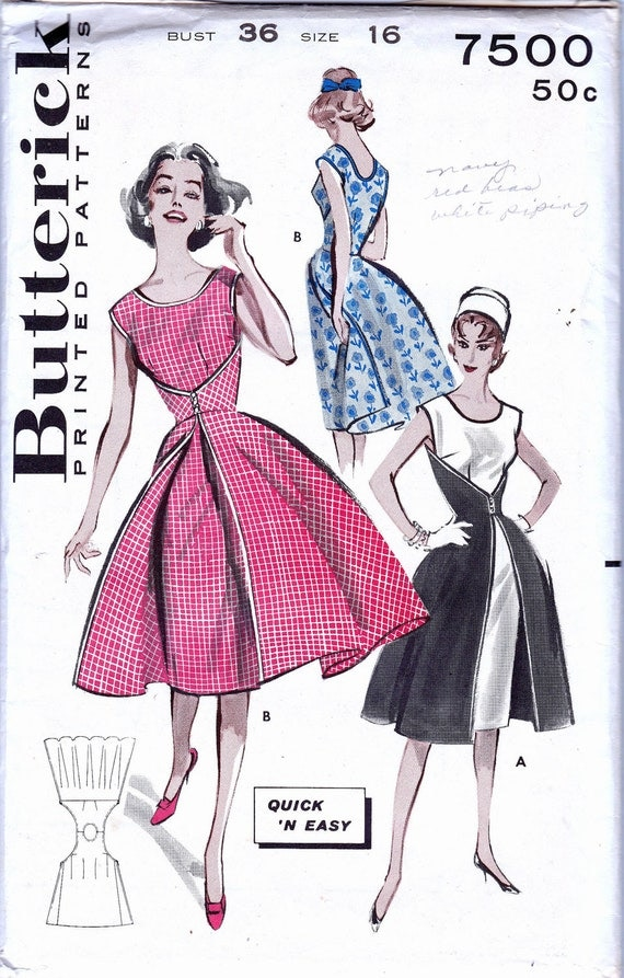 60s Vintage Walk Away Dress pattern Butterick 7500 Sze 16 Bust 36 UNCUT FF