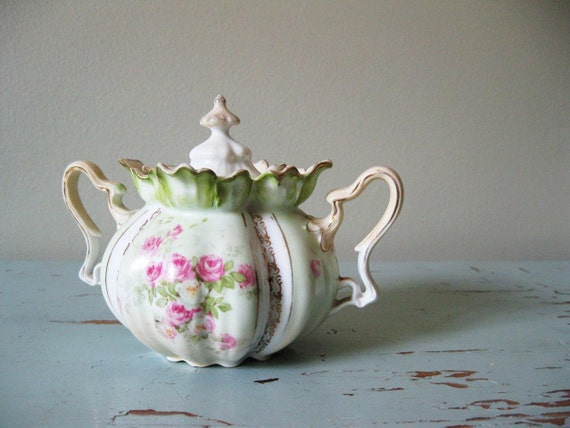 Vintage Handpainted Sugar Bowl