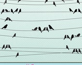 Bird on a Wire Cute Digital Clipart for Card Design, Scrapbooking, and Web Design - JWIllustrations