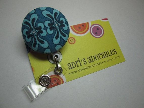 Retractable Badge Reel - Blue Kelp Design - Ready to Ship - Ladies Security Badge Holder -  Swivel Alligator Clip