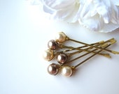Neutral Pearl Hair Pins, 10mm Swarovski, Bronze and Light Gold - BellaMiaDesign