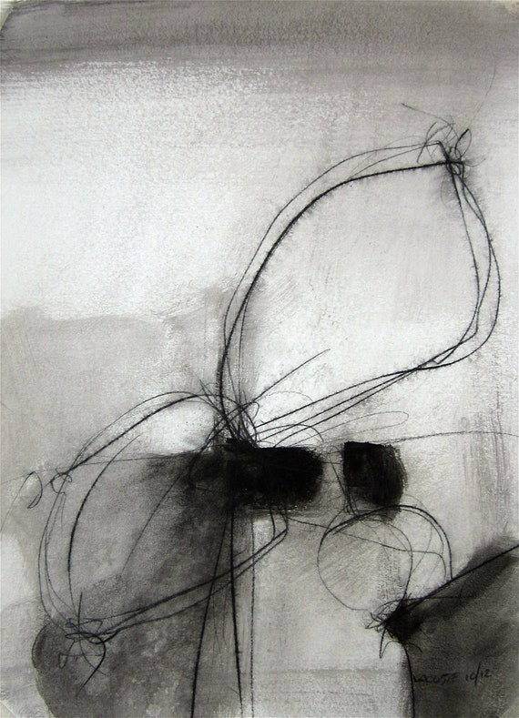 Black and White / Original Abstract Painting / Watercolor 002 / By Edmond Lacoste