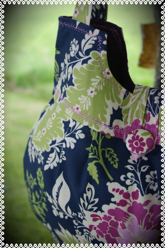Made to Order -- Juliet bag in Michael Miller's Secret Garden Party Dress Midnight